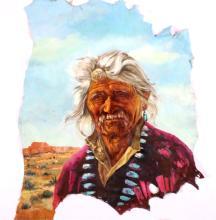 Original Navajo Painting on Calf Hide