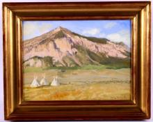Dave Powell Original Indian Teepees Oil Painting