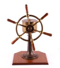 Antique Brass Yacht Wheel w/ Pedestal