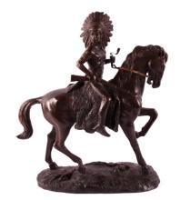 Indian Warrior on Horseback Bronze after Remington