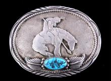 Navajo End of Trail Sterling Turquoise Buckle