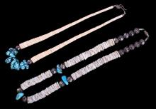 Navajo Sterling Turquoise Nugget Heishi Necklaces