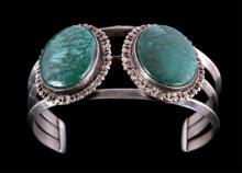 Navajo Malachite & Silver Bracelet Cuff