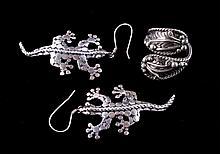 Navajo Sterling Silver Lizard Earrings & Ring The