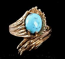 Egg in Basket 14kt Gold & Turquoise Ring The lot f