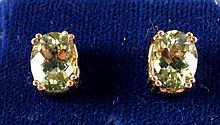 Peridot 14kt Gold Earrings 8 Carats Total This is