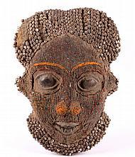 Congo Beaded Mask circa 1900's The piece shows a h