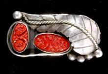 Hopi Carved Coral & Sterling Silver Ring