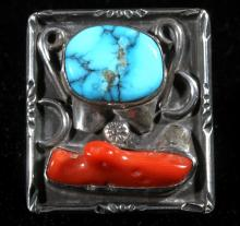 Coral And Turquoise Embedded Stone Rings