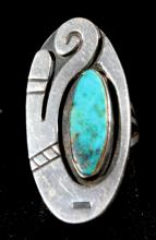 Rare Turquoise Modernist Native American Ring