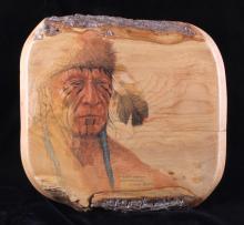 Etched Native American Portrait by Alix Mosieur