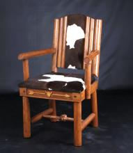 Molesworth Style Cowhide Log Accent Chair
