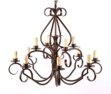 Wrought Iron Style 10 Light Chandelier