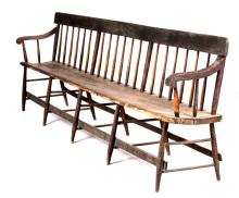 American Painted Deacons Bench 19th C. 8ft 5in