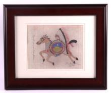 Framed Original Native American Ledger Art