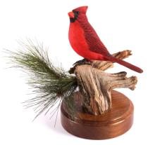 Cardinal Carving by Connie Tveten Montana Artist