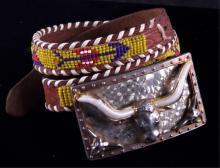 Child's Beaded Belt with Longhorn Belt Buckle