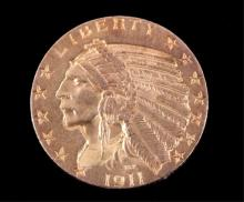 1911 Liberty Indian Head Five Dollar Gold Coin $5