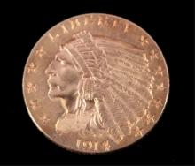 1914 Liberty Indian Head $2.5 Gold Coin