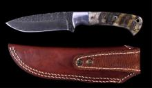 Damascus & Rams Horn CFK Knife with Vine File Work