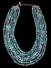 Oriental Turquoise Nugget & Sterling Necklace