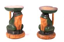 Pair of Carved Wooden Frog Stools