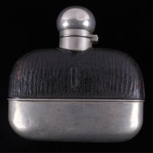 Antique Gamblers Hip Flask with Cup