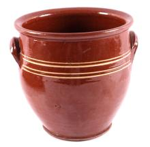 Antique Early American Redware Decorated Crock