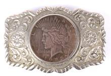 1928 Peace Dollar Belt Buckle
