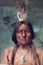 Sitting Bull by Gilbert Gaul (original 1890 print)
