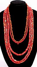 Coral Trade Bead Necklace Th lot features five ori