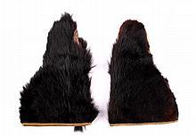 Black Bear Fur Gauntlet Gloves ca. early 1900's Th
