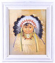 Original Native American Child Portrait This is an
