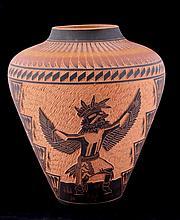 Acoma Carved Large Vase This is Acoma Pueblo Nativ