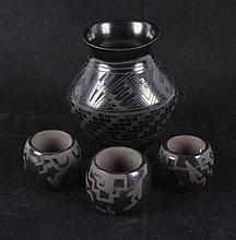 Zuni Black on Black Pottery Collection The lot fea