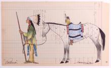 Anderson Kee Original Native American Ledger Art T