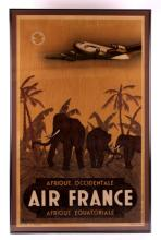 Original Air France Framed Advertising Poster This