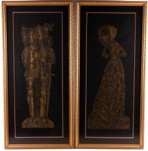 1880's Victorian Brass Rubbings This a pair of 188