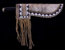 Blackfoot Beaded Scabbard & Knife ca 1880-1910's