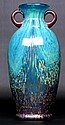 Turquoise and Copper Metallic Art Glass Vase