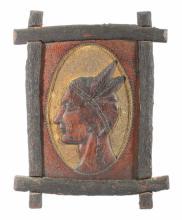 Folk Art Carved Native American Portrait 19th C.