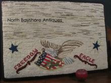 New England Mounted Hooked Rug Eagle on Flag Shield Design