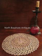 New England Shaker Miniature Braided Silk Table Rug 1800s