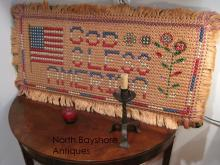 USA Flag Embroidery Macrame, Hooked Mounted Rug