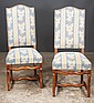 Set of eight Country French dining chairs with upholstered backs and seats and polished nail trim, 19