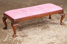 """Queen Anne mahogany bench on cabriole legs with slipper feet, c.1900, ;37"""" long, 14"""" wide, 12"""" high"""