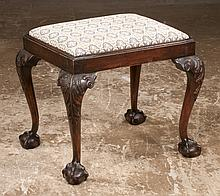 """Irish Chippendale mahogany stool on cabriole legs with acanthus carved knees and ball and claw feet, c.1880, 22"""" long, 18"""" wide, 19"""" high"""