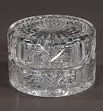 """Cut glass dresser jar in the pin wheel cut design, 5"""" diameter, 3.5"""" high"""