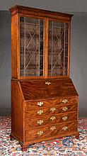 "Chippendale mahogany bureau bookcase with mullion glass doors, good fitted interior and ogee bracket feet, c.1830, 44"" wide, 22"" deep, 90"" high"