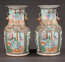 "Pair of Chinese rose medallion porcelain urns with palace scene, figural, bird and floral decoration, c.1860, 14"" high, As Found (one has small repair)"